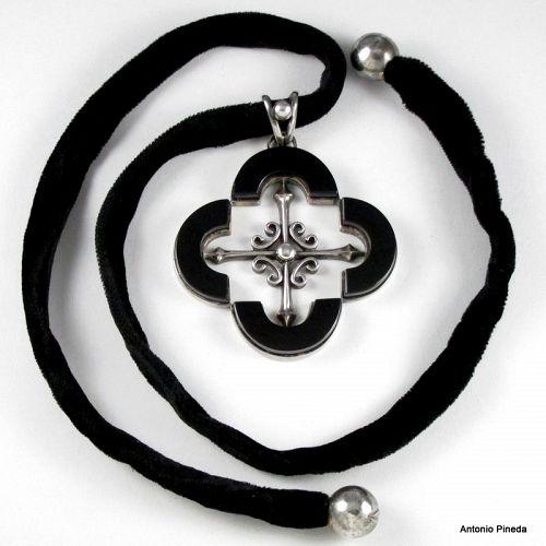 Antonio Pineda Quatrefoil Necklace ~ Pendant On Velvet Cord