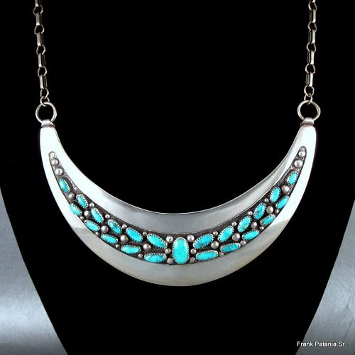 Frank Patania Sr. Turquoise and Sterling Silver Necklace