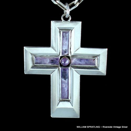 William Spratling Amethyst & Sterling Silver Cross Necklace