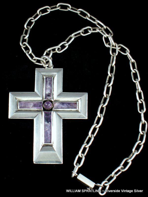 William Spratling Amethyst & Sterling Silver Cross Necklace