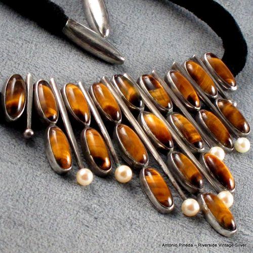 Antonio Pineda Necklace Tigers Eye, Pearl, 970 Silver c. 1950's