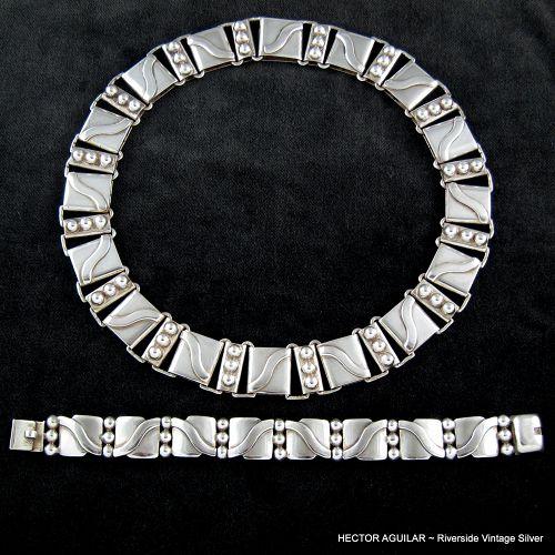 Hector Aguilar Necklace & Bracelet 940 Sterling Silver
