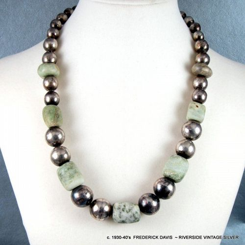 Fred Davis Jade and Sterling Silver Necklace