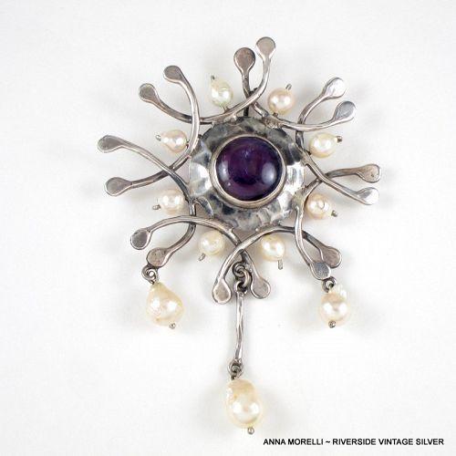 Anna Morelli Silver, Pearl & Amethyst Surrealist Pendant & Pin