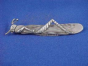 Vintage HECTOR AGUILAR Sterling Grasshopper Pin