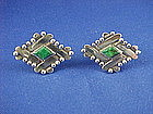 Vintage HECTOR AGUILAR Sterling & Turquoise Cufflinks