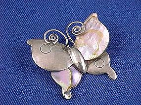 WILLIAM SPRATLING Sterling & Abalone Butterfly Brooch