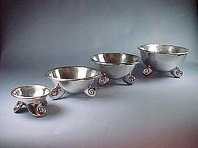 4 Vintage WILLIAM SPRATLING Sterling Nautilus Bowls