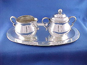 WILLIAM SPRATLING Sterling Silver Tray, Creamer & Sugar
