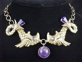 Hubert Harmon Design Amethyst & Brass Necklace Maya
