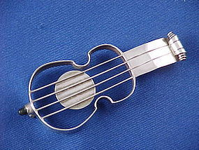 William Spratling Silver & Obsidian Guitar or Cello Pin