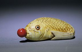An Ivory Fish-Shaped Snuff Bottle of Qing Dynasty