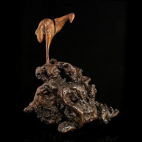 An Intriguingly Made Root Wood Carving, Crane
