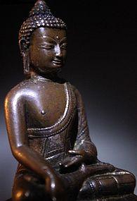 A Tibet Gilt-Bronze Shakyamuni of 15th/16th Century.