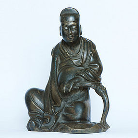 A Decent Bronze Scholar Figure of Qing Dynasty.