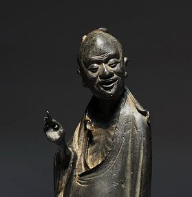 A Fine Bronze Scholar Figure of Ming Dynasty