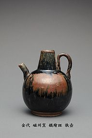 A Decent Cizhou Handled Ewer-Pot of Jin  Dynasty.