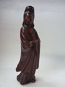 A Nice Wood Carving of Guanyin of 19th Century.