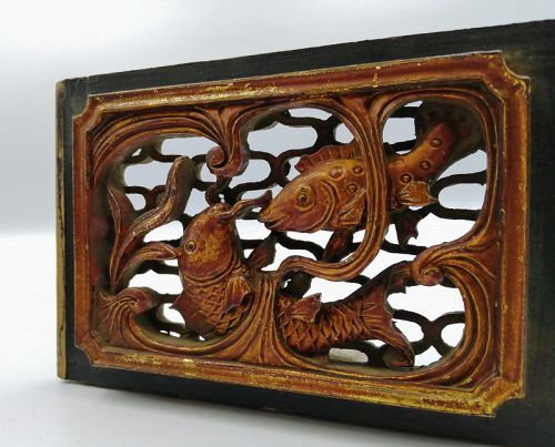 A Pair of Wood panels in Fish Motifs