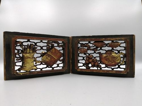 Charming Wood Panel in Pairs