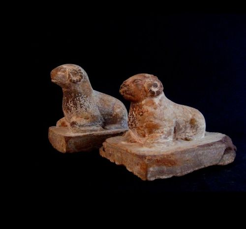 A Pair of Archaic Stone Carvings of Tang Dynasty(AD618-)