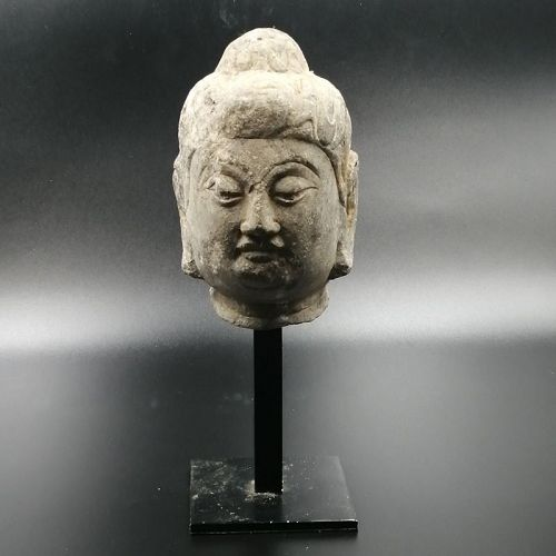 A Granite Head Piece of Tang Dynasty, (AD618-907).