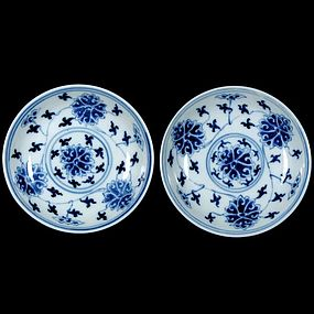 A Pair of Blue and White Dishes of Guangxu Period