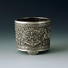 An Exquisitely Carved Silver Incense Burner