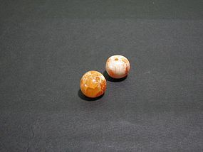 A Pair of Agate Beads of Liao Dynasty(AD907-1125)