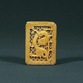A Beautiful Ivory Sachet With Dragon Motif