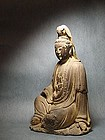 A Decent Wood Guan-yin Carving of 16th Century