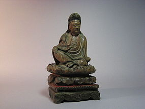 A Decent Wood Carving of Guanyin of Qing Dynasty