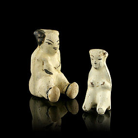 A Pair of Whistling Dolls of Jin or Yuan Periods