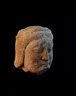 A Rare Sandstone carving of a Head Piece