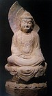 A Finely Carved Limestone Figure Of Buddha of Tang Dy.