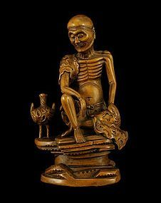 A Fine Boxwood Carving of Lohan of Qing Dynasty