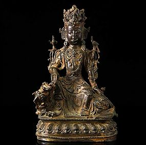 A Magnificent Bronze Guanyin of Ming Dynasty,14th/15th