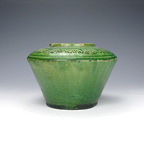 A Charming Green-Glazed Jar of Liao Dynasty, 907-1125