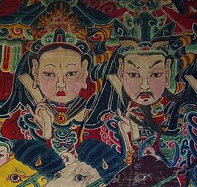 A 19 Century Chinese Minorities' Oil Painting on Cotton