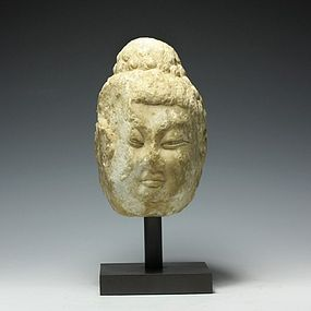 A Great Marble Buddha's Head of Tang Dynasty, 618-907