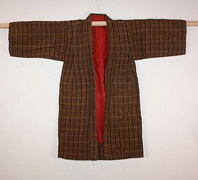 Edo  tsumugi silk Cotton of check Child kimono
