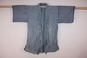 Edo Indigo dye Stripes-katazome Child kimono