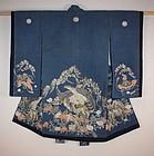 Edo Child kimono of wonderful tsutsugaki Rare