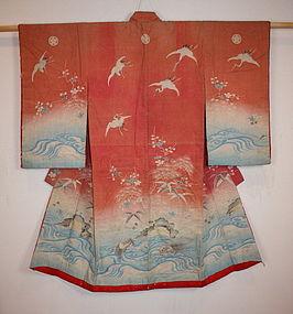 Meiji benibana-dye yuzen cotton Child kimono