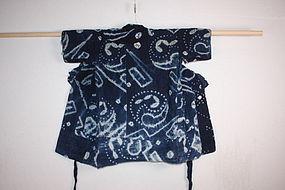 Japanese Indigo dye shibori Baby boro kimono meiji