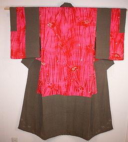 meiji benibana-dye shibori silk nakagi kimono