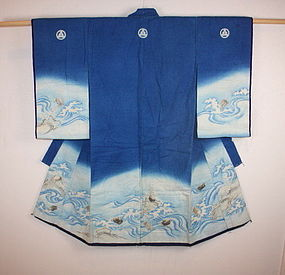 Edo thick  Indigo dye cotton yuzen dye Child kimono