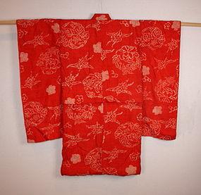 Meiji silk shibori Child kimono textile