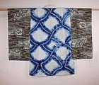 Japanese meiji shibori han-jyuban textile