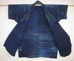 Indigo dye shonai-sashiko cotton noragi hanten